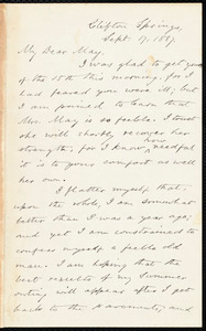 Letter from Oliver Johnson, Clifton Springs, [N.Y.], to Samuel May, Sept. 17, 1887