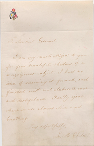Letter to Auguste Edouart from Lydia Maria Child