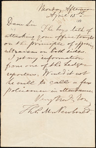 Letter from Thomas Newbould, to James Miller M'Kim, April 15th [1861]