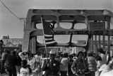 Marchers on the Edmund Pettus bridge in Selma, Alabama, during the 20th anniversary reenactment of the Selma to Montgomery March.