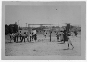 Photograph of African American school children on a playground, Manchester, Georgia, 1953