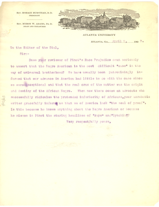 Letter from W. E. B. Du Bois to the editor of the Dial