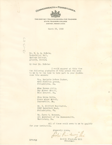 Letter from Leslie Pickney Hill to W. E. B. Du Bois