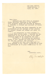 Letter from A. Fay Poindexter to W. E. B. Du Bois