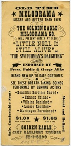 "Handbill for ""The Switchman's Daughter,"" The Golden Eagle Melodrama Co., ca. 1955"