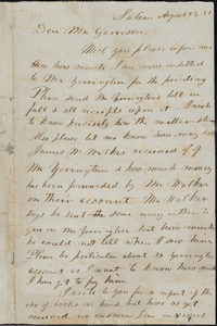 Letter from Sojourner Truth, Salem, [Ohio], to William Lloyd Garrison, [18]51 August 28