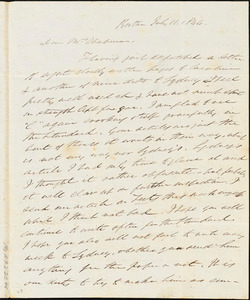 Letter from Edmund Quincy, Boston, [Mass.], to Maria Weston Chapman, July 11, 1844