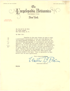 Letter from Encyclopaedia Britannica to W. E. B. Du Bois