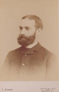 Head-and-shoulders studio portrait of John Eliot Bowen, L. Alman, 172 5th Avenue, New York and Newport, Rhode Island
