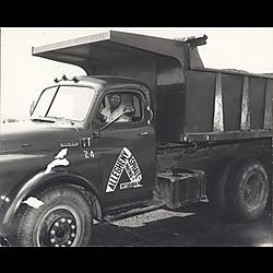 Driver in Allegheny Asphalt Paving Co. truck
