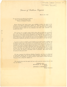 Circular letter from Episcopal Church, Diocese of Southern Virginia to W. E. B. Du Bois