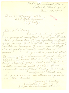Letter from Mildred Gray to Editor of the Crisis
