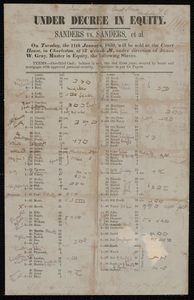 Broadside for an auction of enslaved persons at the Charleston courthouse