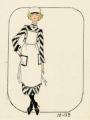 Costume design drawing, maid in striped dress, Las Vegas, June 5, 1980