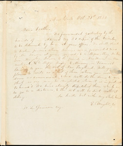 Letter from Elizur Wright, New York, [New York], to William Garrison, 1833 Oct[ober] 31st