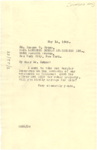Letter from W. E. B. Du Bois to Paul Laurence Dunbar Apartments, Inc.