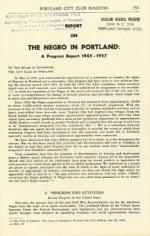 Report on the Negro in Portland: A Progress Report 1945-1957, April 8, 1957