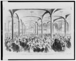 """Great meeting of the ladies of New York at the Cooper Institute, on Monday, April 29, 1861, to organize a society to be called """"Women's Central Association of Relief,"""" to make clothes, lint bandages, and to furnish nurses for the soldiers of the Northern Army"""