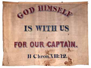 God Himself is with Us for our Captain..., Garrison antislavery banner