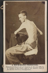 A Richmond prisoner U.S. General Hospital, Div. No. 1, Annapolis, Md., Private Jackson O. Broshears [i.e. Brashears], Co. D, Indiana Mounted Infantry. Age 20 years; height 6 feet 1 inch; weight when captured, 185 lbs.; was in rebel hands three and one-quarter months, 2 months of which were passed on Belle Isle. Under treatment in U.S. Hospital 8 weeks - constantly improving - now, May 19th, 1864, weighs 108-1/2 lbs.