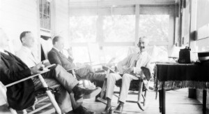 Unidentified group of men on porch.