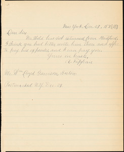 Letter from Arthur Tappan, New York, [New York], to William Lloyd Garrison, 183[2] Dec[ember] 29