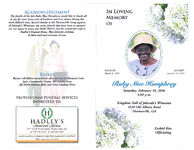 In loving memory of Ruby Mae Humphrey, Saturday, February 13, 2016, 3:00 p.m., Kingdom Hall of Jehovah's Witnesses, 1210 Old Albany Road, Thomasville, GA, Ezekiel Rice, officiating