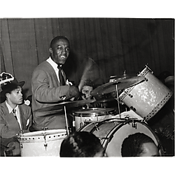 Art Blakey playing drums, with Leo Parker, John Jackson, and Sonny Stitt playing saxophones, in the Billy Eckstine Band