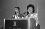 Maxine Waters speaking at a Black Women's Forum event, Los Angeles, 1991