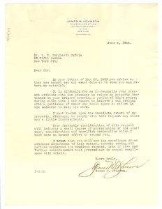 Letter from James W. Johnson to W. E. B. Du Bois