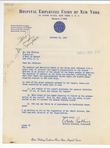 Letter from Hospital Employees Union of New York to NAACP