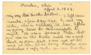 Postcard from J. M. Boddy to W. E. B. Du Bois