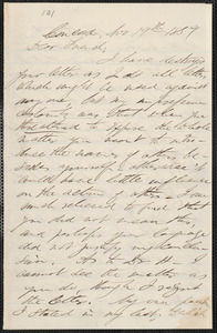 F. B. Sanborn autograph letter signed to [Thomas Wentworth Higginson], Concord, 19 November 1859