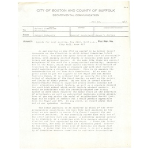 Memo, school committee agenda, May 21, 1973.