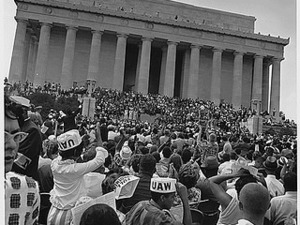 Civil Rights March on Washington, D.C. [Marchers at the Lincoln Memorial.], 08/28/1963