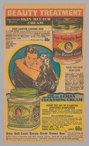 Advertisement for Sweet Georgia Brown skin bleaching creams