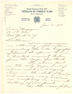 Letter from Beach Sampson Post 1859, Veterans of Foreign Wars of the United States, to Crisis