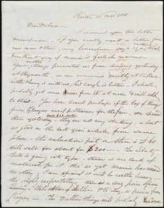 Letter from Henry Grafton Chapman, Boston, [Mass.], to Deborah Weston, 26 Nov. 1841