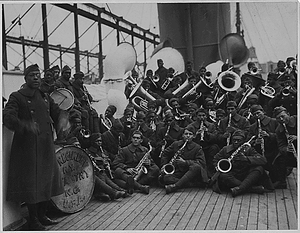 [African American] Jazz Band and Leader Back with [African American] 15th New York. Lieutenant Jame...