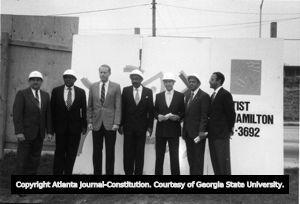 Civic leaders celebrating the start of Cityscape, Atlanta, Georgia, November 1988.