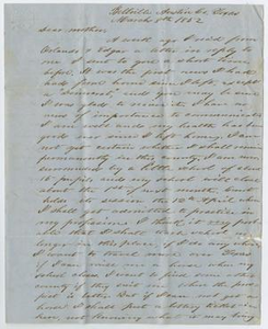[Letter from John Patterson Osterhout to Sarah Osterhout, March 8, 1852