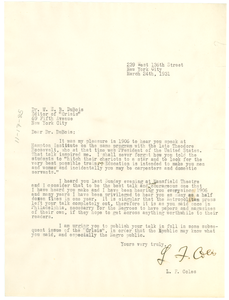 Letter from L. F. Coles to W. E. B. Du Bois