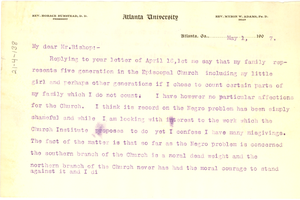 Letter from W. E. B. Du Bois to The American Church Institute for Negroes