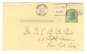 Postcard from Florence Ridley to W. E. B. Du Bois