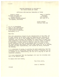 Letter from American Federation of Musicians of the United States and Canada to United States Office of Education