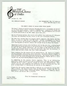 [Press Release: Women's Chorus Opens for Third Season] National Gay and Lesbian Task Force (NGLTF), 1990-1991