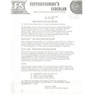 Superintendent's Circular Court ordered orientation meetings, May 10, 1976.