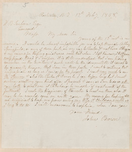 John Brown autograph letter signed to Franklin Benjamin Sanborn, Rochester, N.Y., 17 February 1858