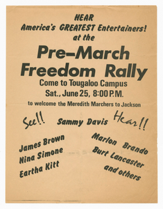 Flier for a pre-march Freedom Rally for the Meredith Marchers