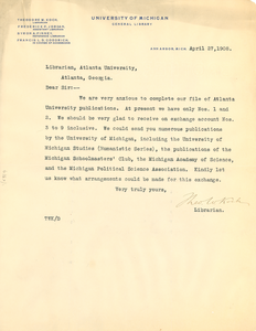 Letter from Theodore W. Koch to Librarian, Atlanta University